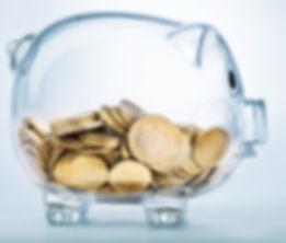 Piggy bank. Money. See through.