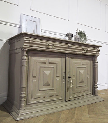 French Antique Sideboard Cupboard in Taupe