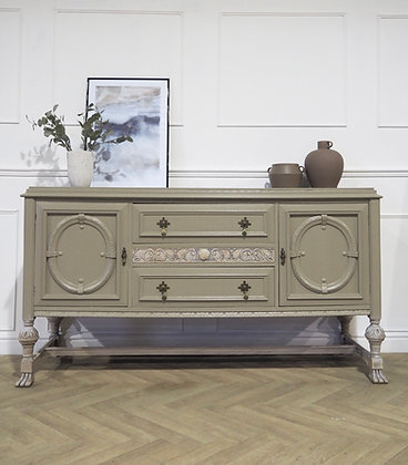 Vintage Oak Sideboard in Taupe Cream Wooden legs
