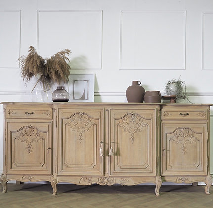 Large French Louis XV ornate carved Limed oak sideboard