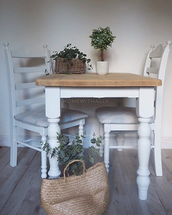 Farmhouse dining table with two chairs