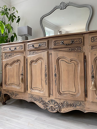 Large French Antique Louis XV Sideboard in limed oak