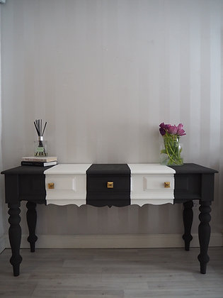 SOLD Black and white console table/desk