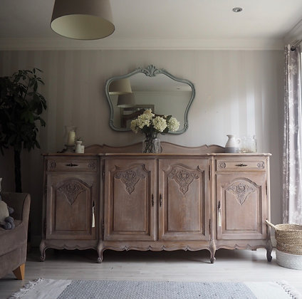 Large French Louis XV Sideboard in raw wood / limed oak
