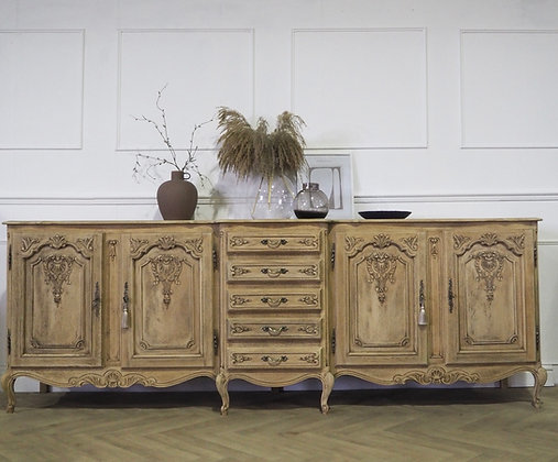 Extra large French Louis Sideboard in Raw Wood