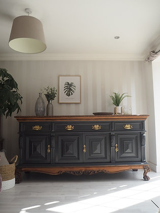 Very large antique sideboard in ash with wooden legs and top