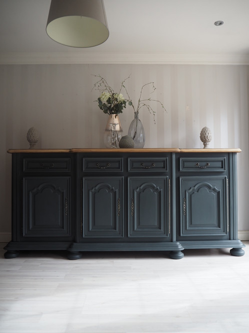 Extra Large Solid Oak Sideboard In Deep Grey Wooden Top