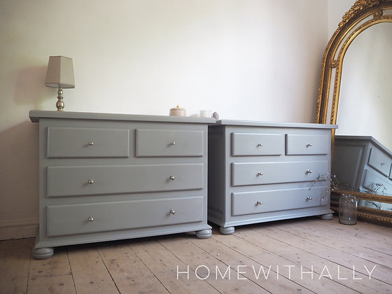 Solid wooden pair of matching chest of drawers in grey