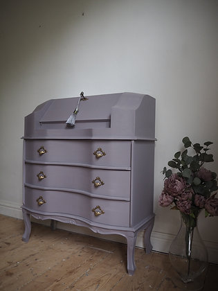 Vintage writing bureau in purple and gold