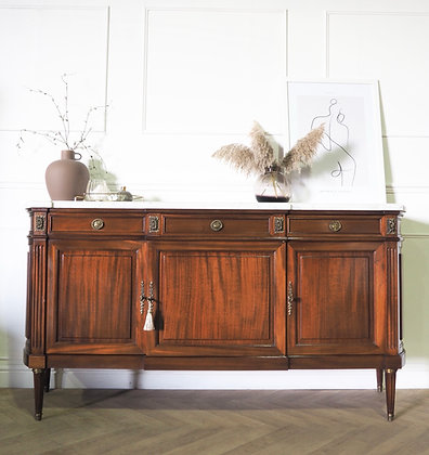 Large mahogany French Louis XVI sideboard with white marble top