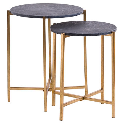 Set of Two Black and Gold Marble tables