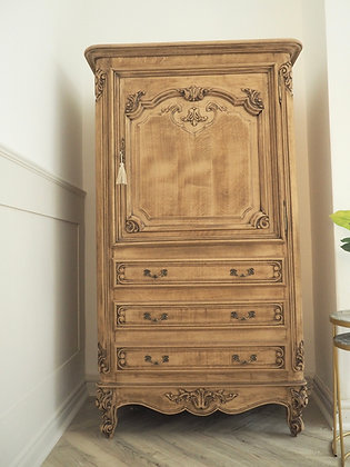Large Louis XV Style Vintage Cabinet secretaire in Raw Wood