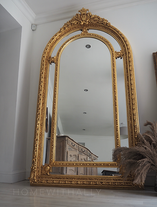 Large vintage ornate arched freestanding floor mirror in gold