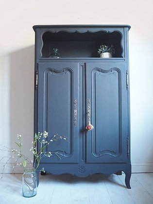 Large French cupboard / cabinet / wardrobe in navy blue