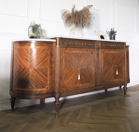 French Louis XVI style Sideboard Marble top inlaid Mahogany
