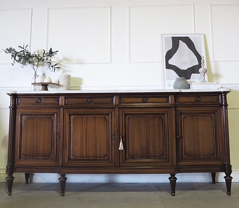 Large French Louis xvi style Mahogany Sideboard Marble Top
