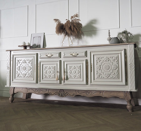 Large Antique Style Sideboard painted in grey wooden top