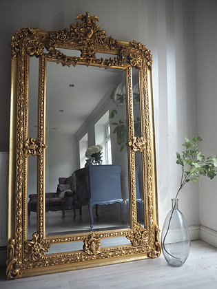 Large ornate heavy gilt framed gold Freestanding mirror floor mirror