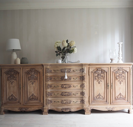 Large French Rustic Carved Sideboard in Limed Oak Raw Wood