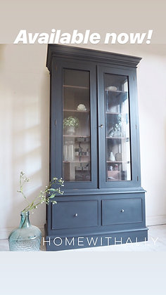 Large bookcase cabinet painted ash black grey