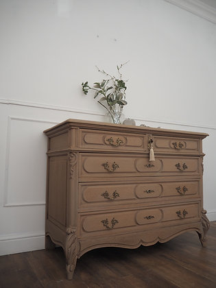 Large solid oak french antique drawers in limed oak