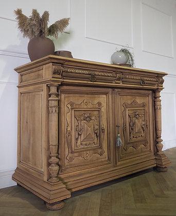 French raw wood sideboard unit buffet cupboard