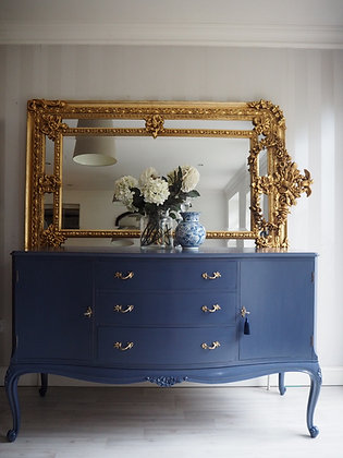 French style sideboard in glossy blue gold handles