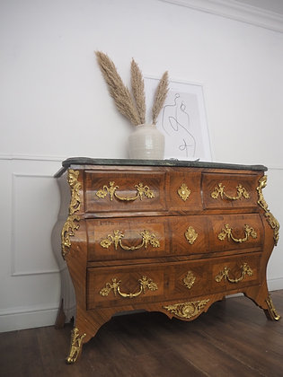 Large French Louis Bombe Chest Marble Top