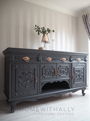 Large heavily carved Victorian sideboard in ash black / grey