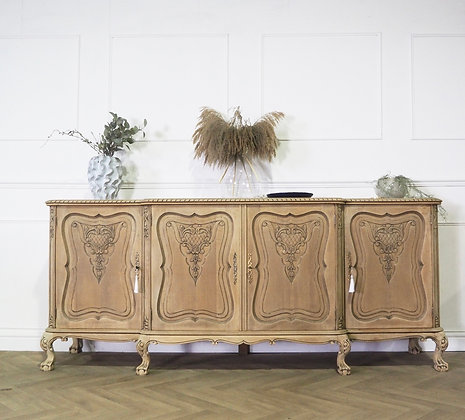 Large French chippendale style limed oak raw wood bleached oak sideboard