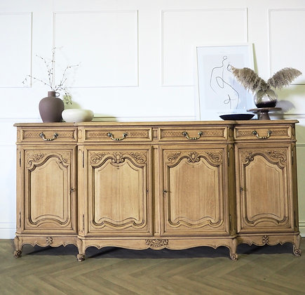 Large Antique French Louis Sideboard in Raw Wood