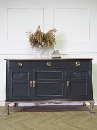 Vintage mahogany french style sideboard in ash black wooden top