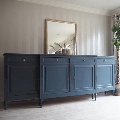 Large french oak marble top sideboard in stiffkey blue