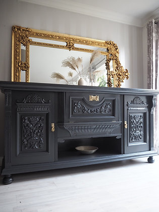 Large heavy antique chunky sideboard in black charcoal grey