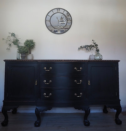 Large ball and claw sideboard in black with wooden top