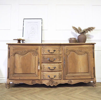 Large French Antique sideboard in raw wood Louis XV