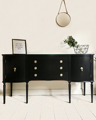 Black sideboard with glass top