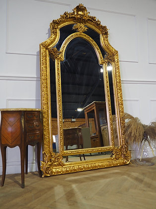 Large freestanding leaner french gold mirror