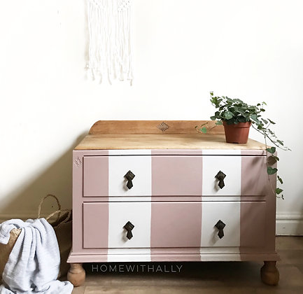 Small vintage oak painted drawers in pink and white