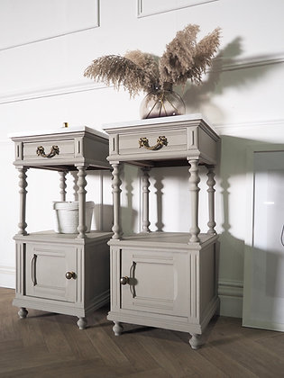 French antique bedside cabinets with marble tops in grey
