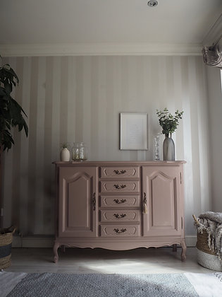 Small slim french sideboard console dresser in dusky pink