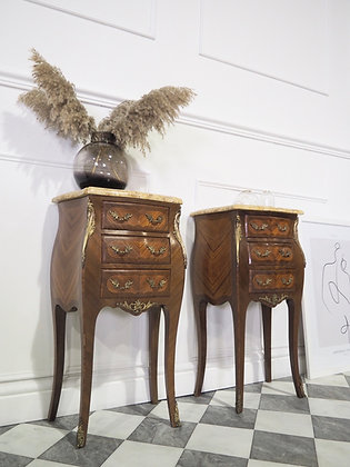 French Louis Bombe Inlaid Bedside tables Cabinets with Marble tops
