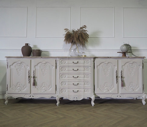 Extra Large french Louis XV Sideboard in cream Limed Oak top