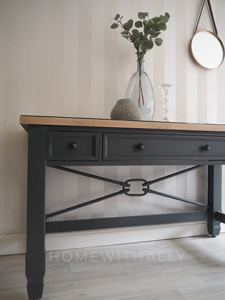 Solid oak desk / console in dark grey with wooden top and glass