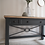Thumbnail: Solid oak desk / console in dark grey with wooden top and glass