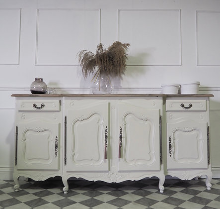 Large french Louis XV Antique walnut sideboard in cream