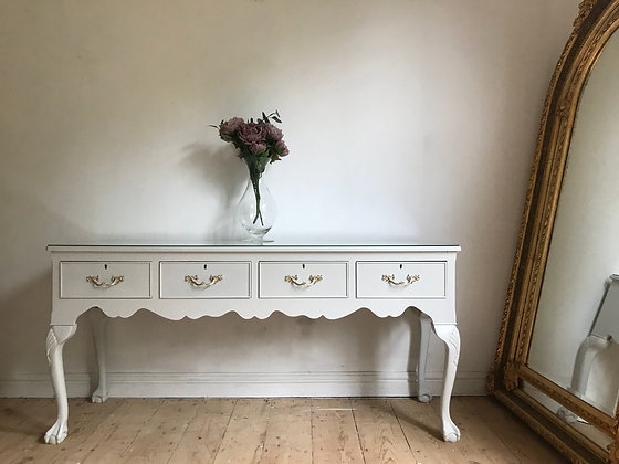 Vintage long console table dresser sideboard in white glass top