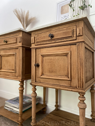 Pair of French oak marble top bedside cabinets