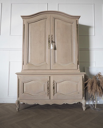 Large French Louis XV Vintage Cabinet Linen Cupboard