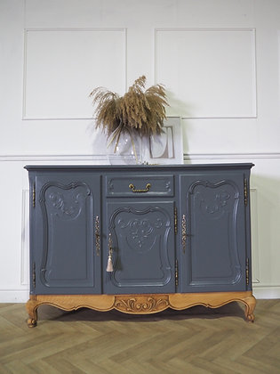 French Louis XV Vintage Sideboard in Grey
